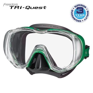 TRI-QUEST 3 WINDOW MASK - ENERGY GREEN / BLACK SILICONE