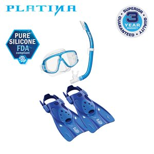 PLATINA MASK,SNORKEL&FIN SET (UM20 / USP160 / UF0103) - CLEAR BLUE, LARGE