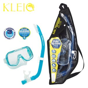MINI-KLEIO MASK & SNORKEL SET JUNIOR (UM2000 / USP140) - CLEAR GREEN