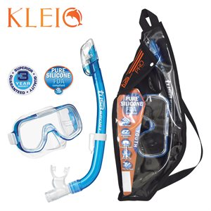 MINI-KLEIO MASK & DRY SNORKEL SET (UM2000 / USP220) - CLEAR BLUE