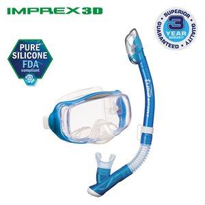 IMPREX 3D MASK & DRY SNORKEL SET (UM33 / USP250) - FISHTAIL BLUE