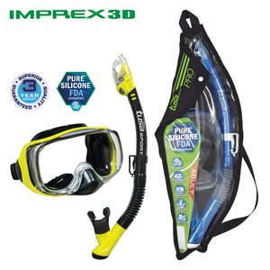 IMPREX 3D MASK & DRY SNORKEL SET (UM33 / USP250) - BLACK / FLASH YELLOW