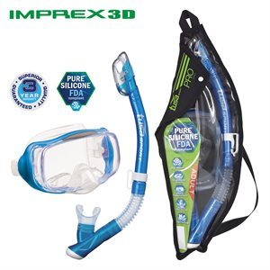 IMPREX 3D MASK & DRY SNORKEL SET (UM33 / USP250) - FISHTAIL BLUE