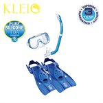 MINI-KLEIO MASK, SNORKEL & FIN SET JUNIOR (UM2000 / USP140 / UF0103) - CLEAR BLUE, MEDIUM