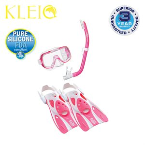 MINI-KLEIO MASK, SNORKEL & FIN SET JUNIOR (UM2000 / USP140 / UF0103) - CLEAR PINK, MEDIUM