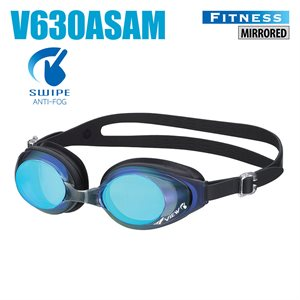 SWIPE FITNESS GOGGLES, MIRRORED, BLUE / BLACK