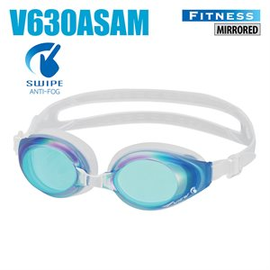 SWIPE FITNESS GOGGLES, MIRRORED, BLUE / EMERALD