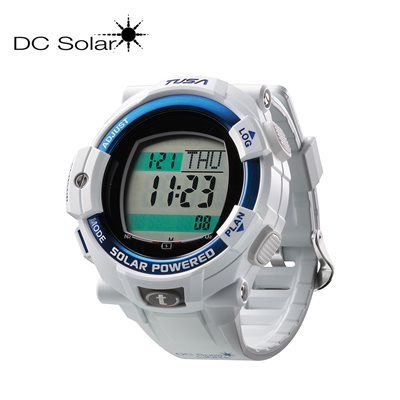 DC SOLAR LINK WATCH - WHITE / BLUE BEZEL RING **