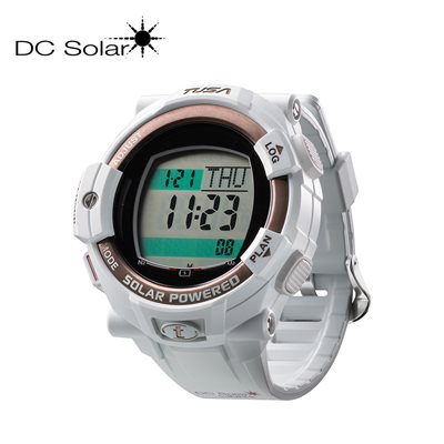 DC SOLAR LINK WATCH - WHITE / PINK GOLD BEZEL RING **